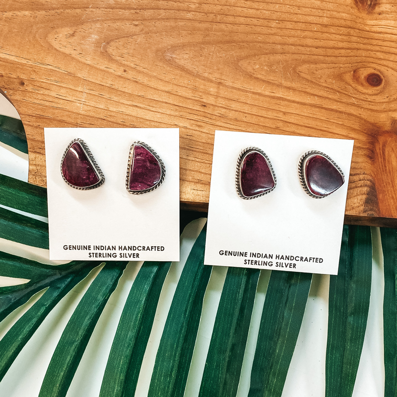 Elouise Kee | Navajo Handmade Sterling Silver and Purple Spiny Oyster Stud Earrings