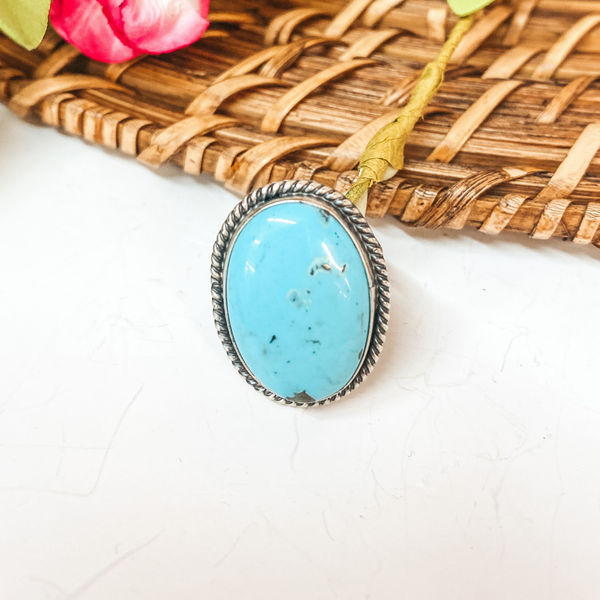 Eli Skeets | Navajo Handmade Sterling Silver Oval Ring with Kingman Turquoise Stone - Size 6.5