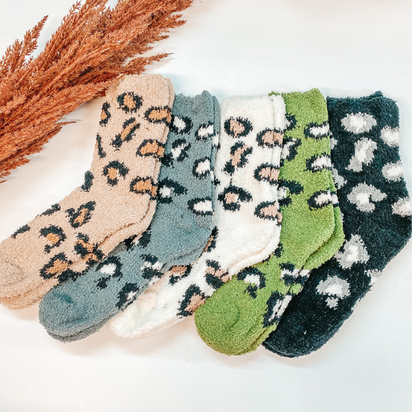 3 for $10 | Assorted Leopard Fuzzy Crew Socks