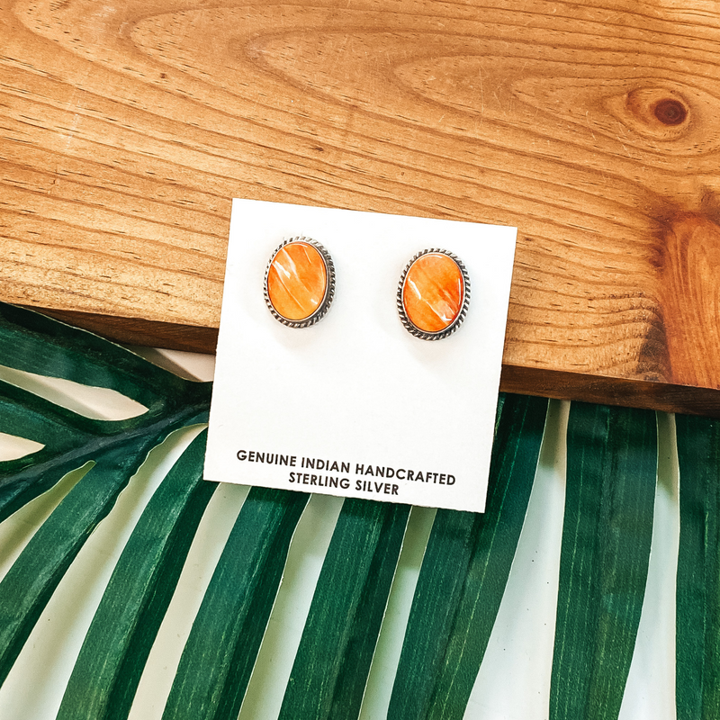 Elouise Kee | Navajo Handmade Sterling Silver and Orange Spiny Oyster Stud Earrings