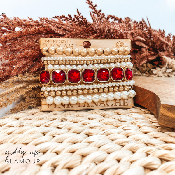 Pink Panache | Gold and Pearl Mix Bracelet Set in Red