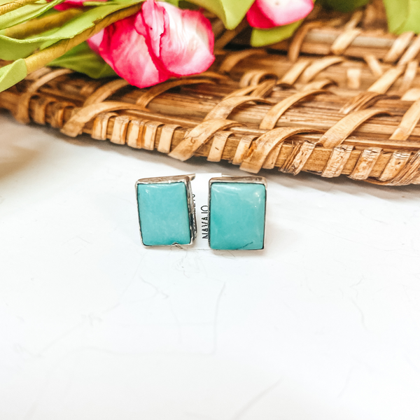 Eli Skeets | Navajo Handmade Sterling Silver Adjustable Ring with Kingman Turquoise Square Stones