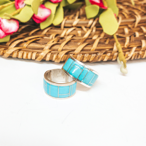 Bernard Cachini | Zuni Handmade Thick Sterling Silver Ring with Turquoise Inlay