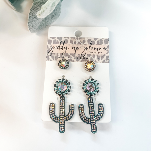 Set of Three | Cactus Stud Earring Set with AB Crystals in Patina Turquoise