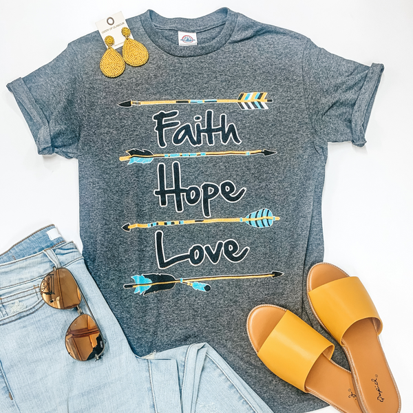 Faith, Hope, and Love Glitter Arrow Short Sleeve Graphic Tee in Heather Grey