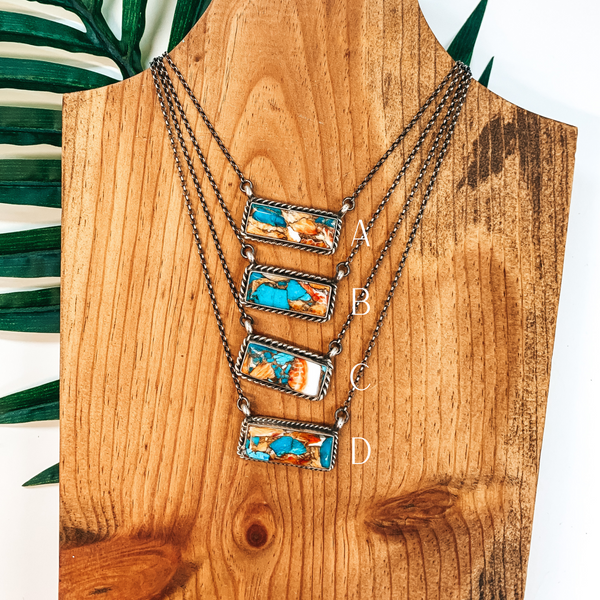 Augustine Largo | Navajo Handmade Sterling Silver Chain Necklace with Remix Spiny Turquoise Stone and Rope Detailing Bar