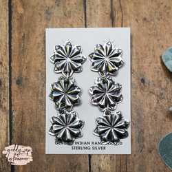 Navajo | Genuine Sterling Silver Concho Three Tiered Stud Earrings