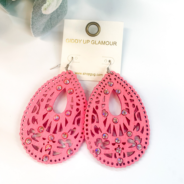 Scalloped Wooden Teardrop Earrings with Cut Outs and AB Crystals in Neon Pink