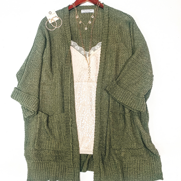 Warm Their Hearts Knit Cardigan with Pockets in Olive Green