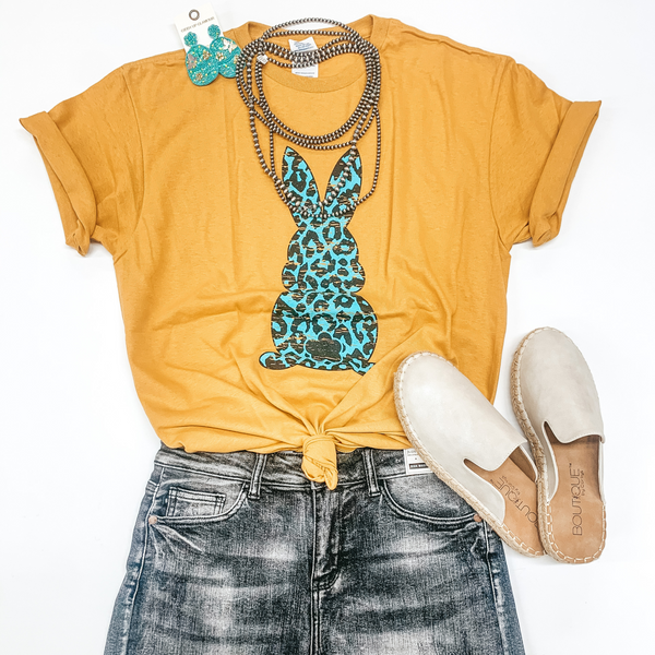 The Bunny Hop Mint Leopard Bunny Short Sleeve Graphic Tee in Mustard