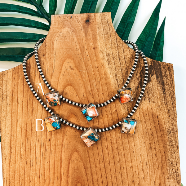 Elouise Kee | Authentic Native American 4mm 14 inch Navajo Pearl Necklace with 3 Diamond Remix Spiny Oyster and Turquoise Stones