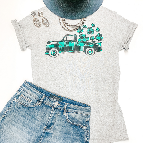 Take My Luck For A Ride Buffalo Plaid Pickup Truck with Clovers Graphic Tee in Heather Grey