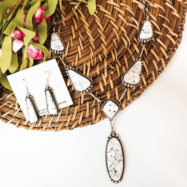 Augustine Largo | Handmade Navajo Sterling Silver Lariat Necklace with White Buffalo Stones + Matching Earrings