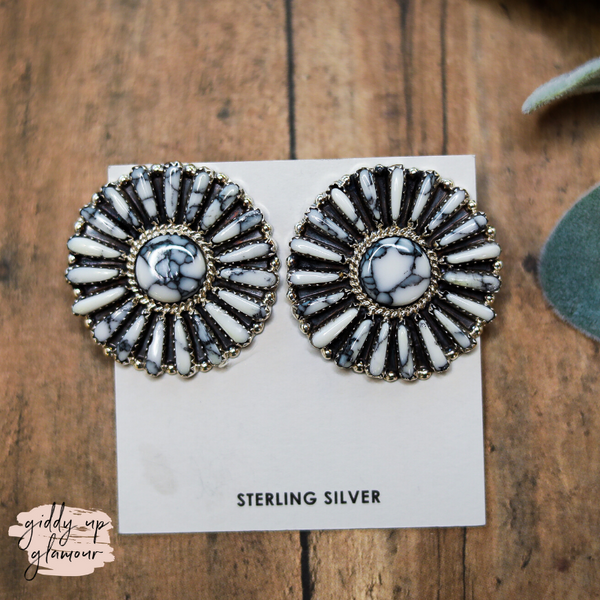 Pamela Benally | Genuine Navajo Sterling Silver Flower Cluster White Buffalo Earrings