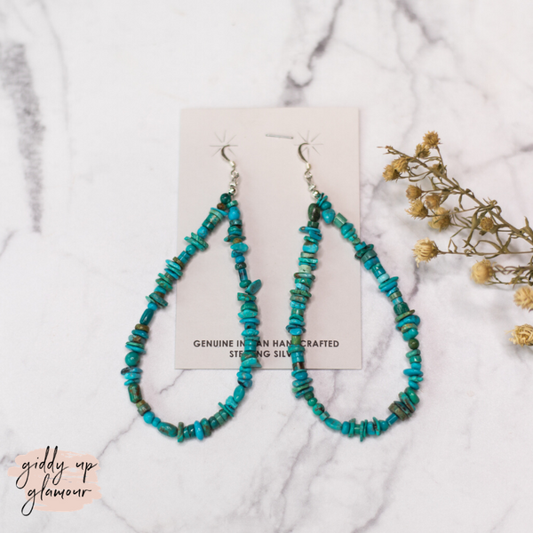 Navajo | Large Turquoise Chip and Sterling Silver Teardrop Earrings