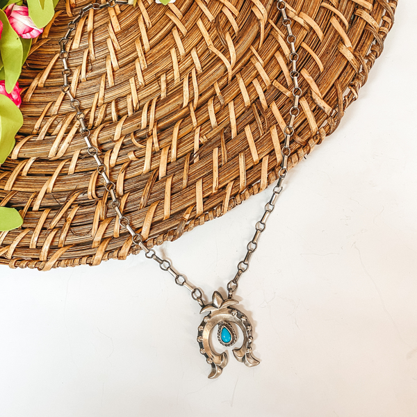 Annie Spencer | Sterling Silver Chain Necklace with Naja Pendant with Turquoise Stud