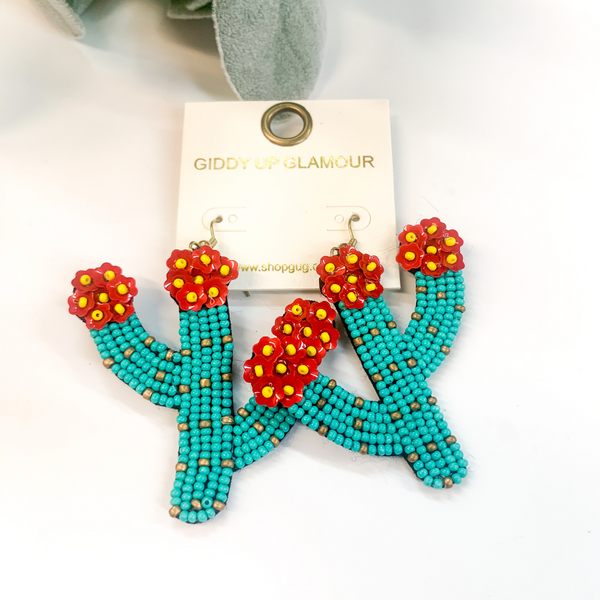 Seedbead Saguaro Cactus Earrings with Red Flowers in Turquoise