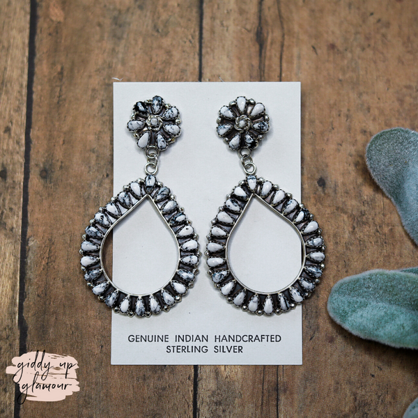 Matilda Benally | Genuine Sterling Silver and White Buffalo Needlepoint Cluster Post and Teardrop Earrings