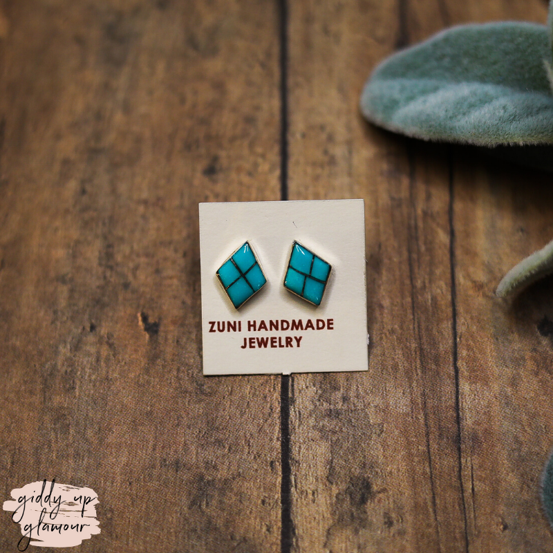 Zuni | Genuine Navajo Sterling Silver and Turquoise Diamond Stud Earrings