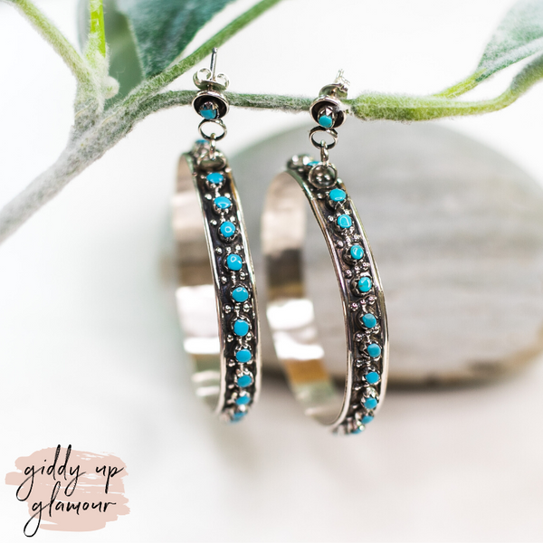Joanne Cheama | Genuine Zuni Sterling Silver and Turquoise Hoop Earrings