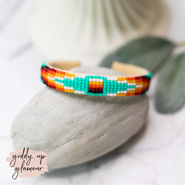 Navajo | Aztec Beaded Cuff Bracelet in Turquoise Blue #1