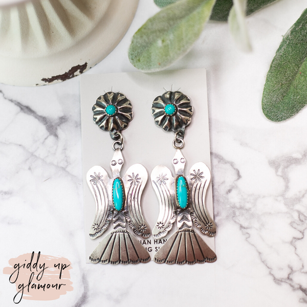 Tim Yazzie | Genuine Sterling Silver with Turquoise Stones Thunderbird Dangle Earrings