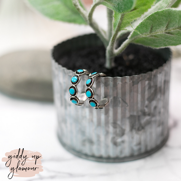 Navajo | Medium Genuine Sterling Silver Hoops with Turquoise Circle Stone
