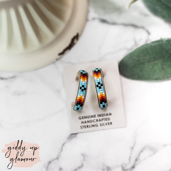 Navajo | Multi Colored Aztec Beaded Hoop Earrings in Sky Blue #2