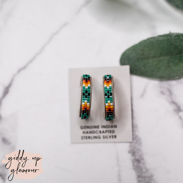 Navajo | Multi Colored Aztec Beaded Hoop Earrings in Turquoise Blue #2