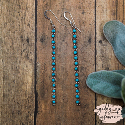Zuni | Genuine Navajo Sterling Silver and Turquoise Skinny Dangle Earrings