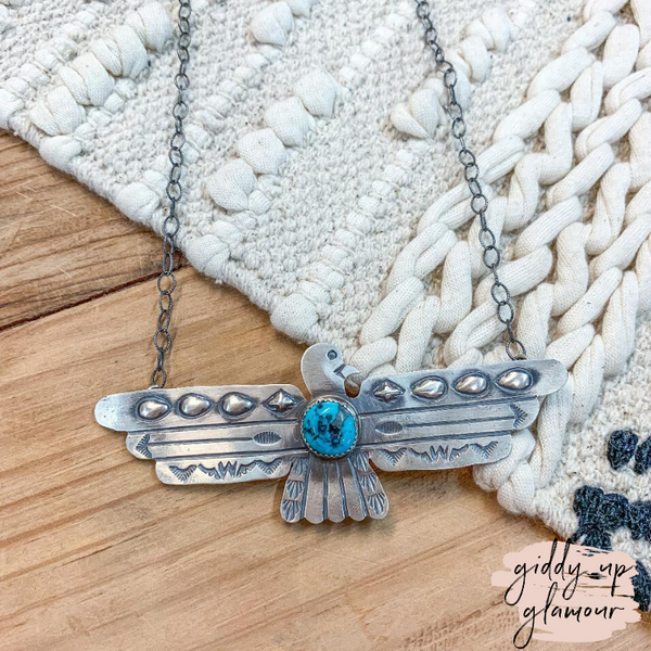 Tim Yazzie | Genuine Sterling Silver Authentic Navajo Thunderbird Necklace with Turquoise Stone