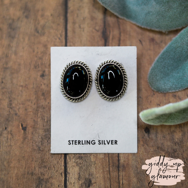 Scott Skeets | Handmade Genuine Navajo Sterling Silver & Black Onyx Stud Earrings