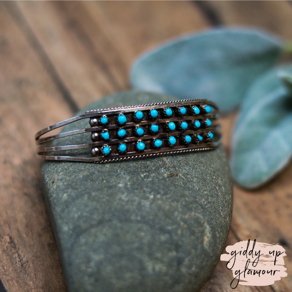 Navajo | Genuine Sterling Silver Cuff with Three Rows of Eight Small Turquoise Stones