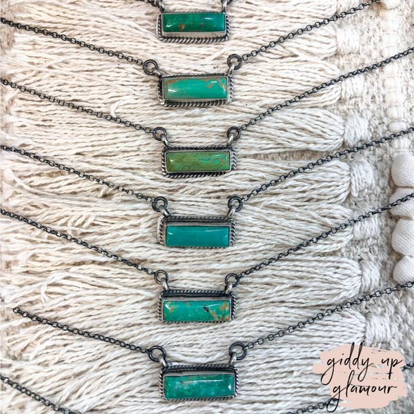 Augustine Largo | Antiqued Sterling Silver Chain Necklace with Small Kingman Turquoise Bar
