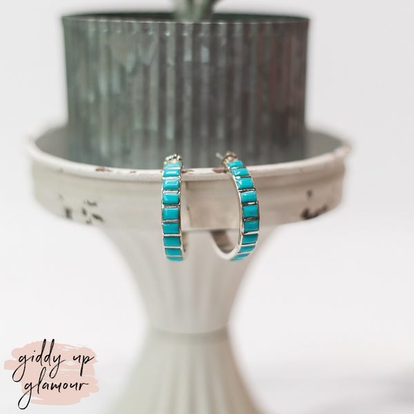 Navajo | Medium Genuine Sterling Silver Hoops with Turquoise Square Stone