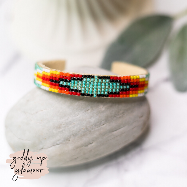 Navajo | Aztec Beaded Cuff Bracelet in Turquoise Blue #4