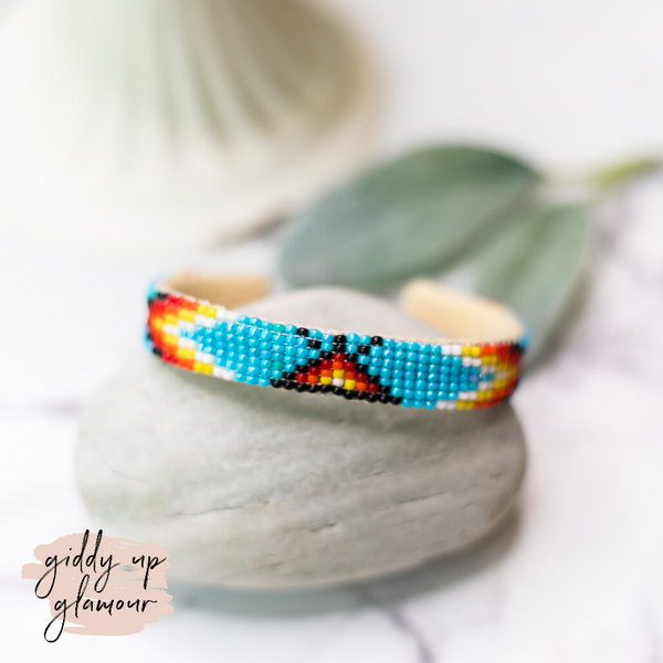 Navajo | Aztec Beaded Cuff Bracelet in Sky Blue #1