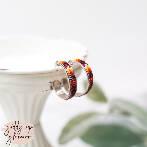 Navajo | Multi Colored Aztec Beaded Hoop Earrings in Maroon #5