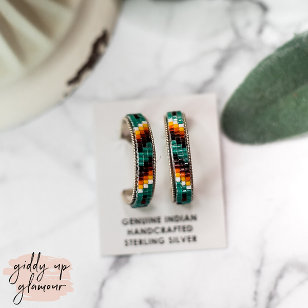 Navajo | Multi Colored Aztec Beaded Hoop Earrings in Turquoise Blue #1