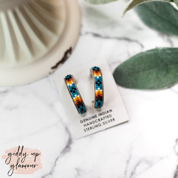 Navajo | Multi Colored Aztec Beaded Hoop Earrings in Blue #1