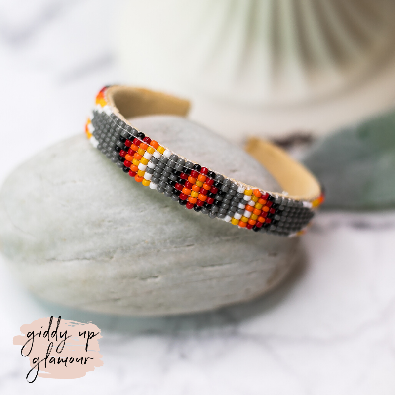 Navajo | Aztec Beaded Cuff Bracelet in Grey #2