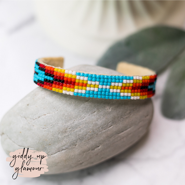 Navajo | Aztec Beaded Cuff Bracelet in Sky Blue #2
