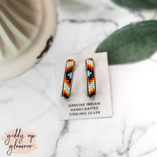 Navajo | Multi Colored Aztec Beaded Hoop Earrings in Sky Blue #1