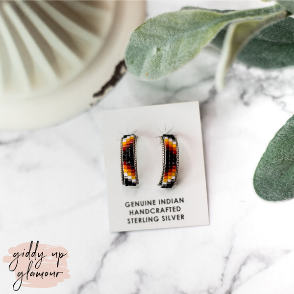 Navajo | Small Multi Colored Aztec Beaded Hoop Earrings in Black
