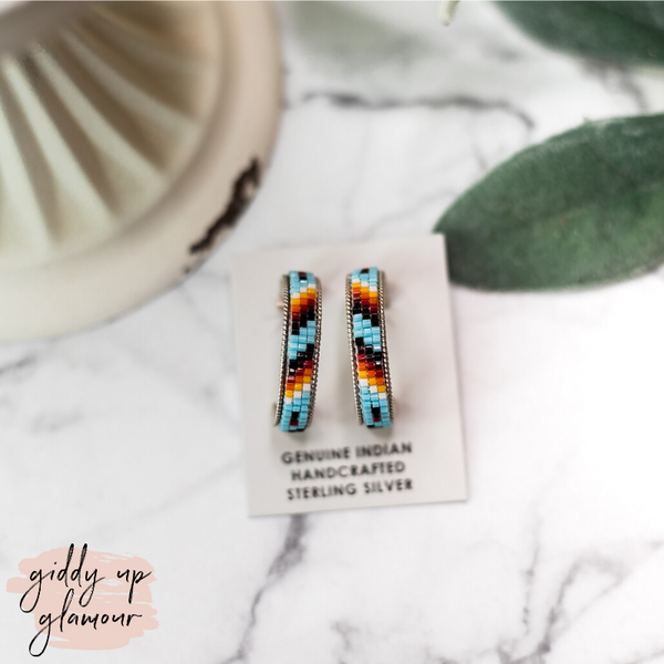 Navajo | Multi Colored Aztec Beaded Hoop Earrings in Sky Blue #3