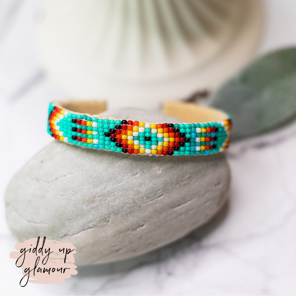 Navajo | Aztec Beaded Cuff Bracelet in Turquoise Blue #6