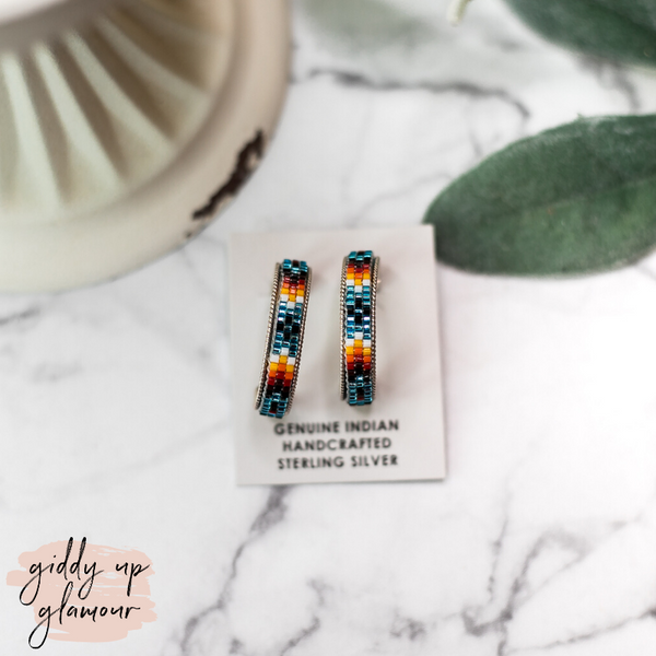Navajo | Multi Colored Aztec Beaded Hoop Earrings in Metallic Blue #2