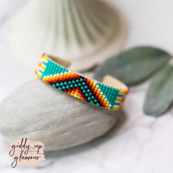 Navajo | Aztec Beaded Cuff Bracelet in Turquoise Blue #3