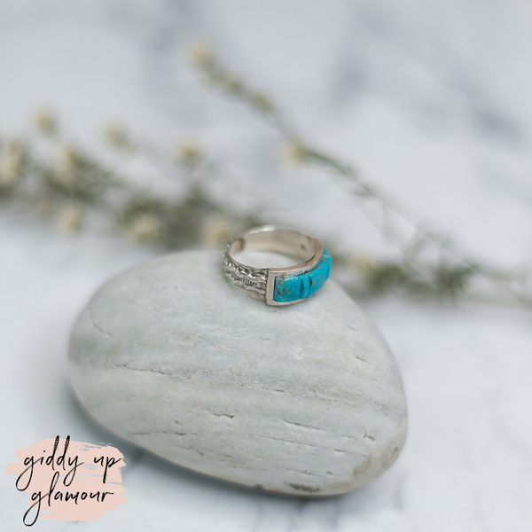 victor thompson genuine authentic navajo zuni nations native american indian handmade handcrafted sterling silver turquoise chip stone band ring heritage style turquoise and co c rivers design our lady turquoise lil bees bohemian