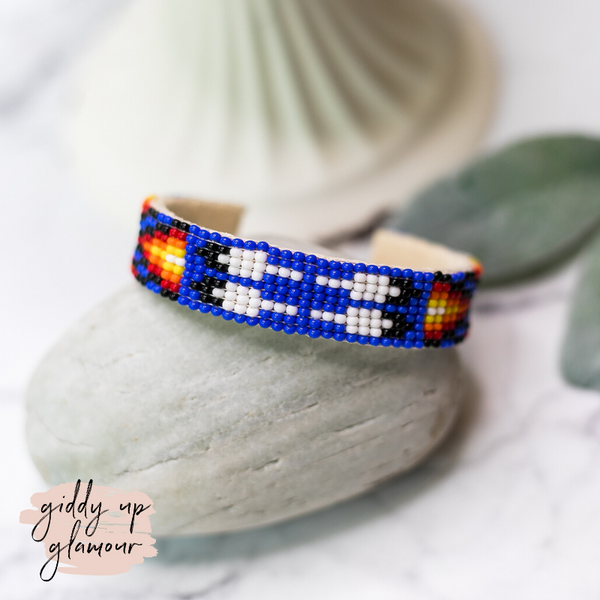 Navajo | Aztec Beaded Cuff Bracelet in Royal Blue